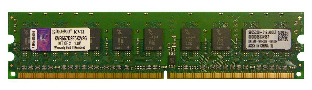 Kingston 2GB Kit (2 X 1GB) PC2-5300 DDR2-667MHz ECC Unbuffered CL5 240-Pin DIMM Memory (Kit of 2) Mfr P/N KVR667D2E5K2/2G