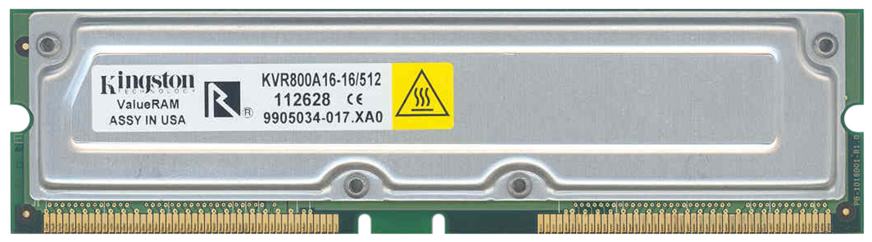 KVR800A16-16/512 Kingston 512MB Rambus PC800 800MHz non-ECC 40ns 184-Pin RDRAM RIMM Memory Module