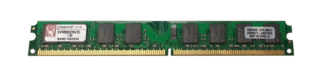 KVR800D2N5/2G Kingston 2GB PC2-6400 DDR2-800MHz non-ECC Unbuffered CL5 240-Pin DIMM Dual Rank Memory Module