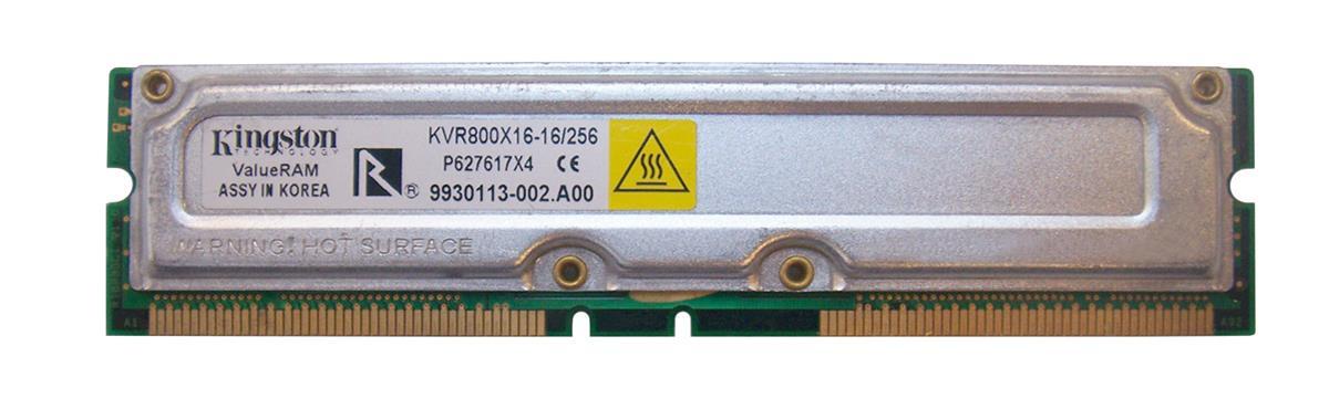 Kingston 256MB Module RDRAM PC800 non-ECC 45ns 800MHz 184-Pin 25v 128Meg x 16 Mfr P/N KVR800X16-16/256