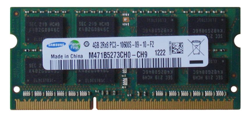 Samsung 4GB PC3-10600 DDR3-1333MHz non-ECC Unbuffered CL9 204-Pin SoDimm Memory Module Mfr P/N M471B5273CH0-CH9