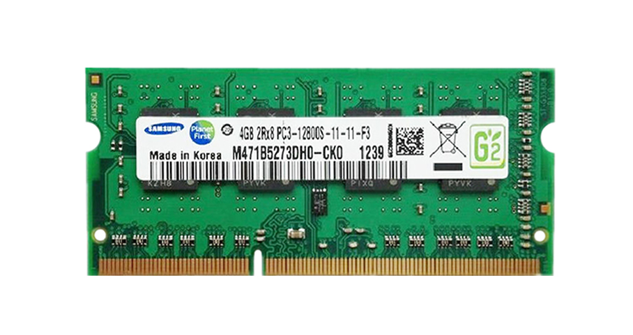 M471B5273DH0-CK0 Samsung 4GB PC3-12800 DDR3-1600MHz non-ECC Unbuffered CL11 204-Pin SoDimm Dual Rank Memory Module