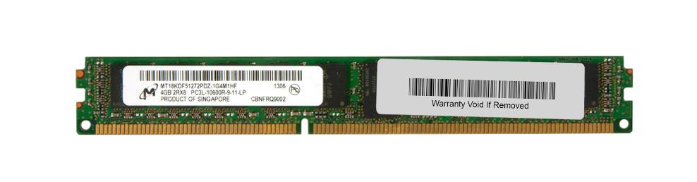 Micron 4GB PC3-10600 DDR3-1333MHz ECC Registered w/ Parity CL9 240-Pin DIMM 1.35V Low Voltage Very Low Profile (VLP) Dual Rank Memory Module Mfr P/N MT18KDF51272PDZ-1G4M1