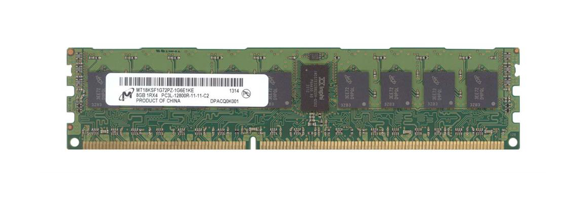 Micron 8GB PC3-12800 DDR3-1600MHz ECC Registered CL11 240-Pin DIMM 1.35V Low Voltage Single Rank Memory Module Mfr P/N MT18KSF1G72PZ-1G6E1