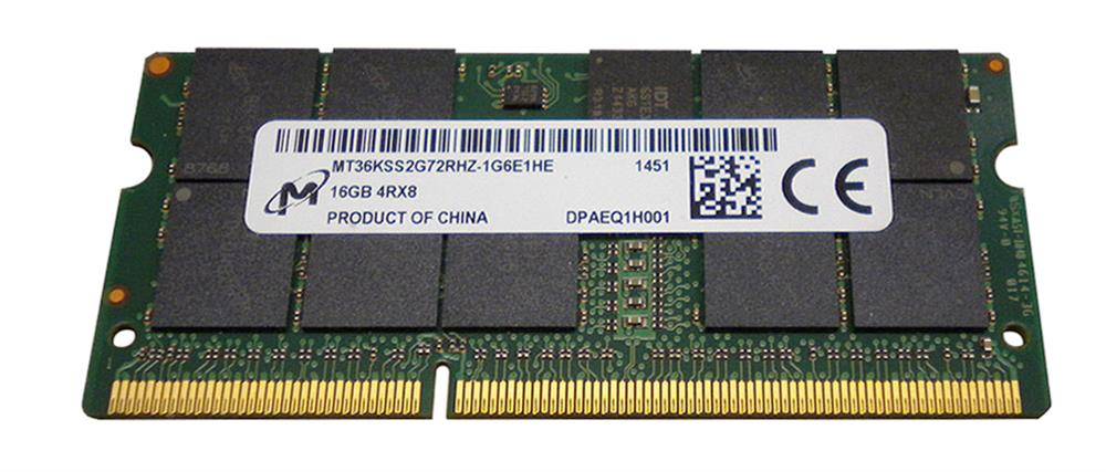 MT36KSS2G72RHZ-1G6E1 Micron 16GB PC3-12800 DDR3-1600MHz ECC Registered CL11 204-Pin SoDimm 1.35V Low Voltage Quad Rank Memory Module