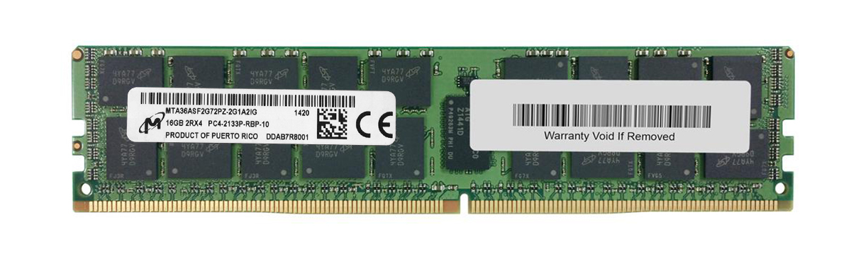 MTA36ASF2G72PZ-2G1 Micron 16GB PC4-17000 DDR4-2133MHz Registered ECC CL15 288-Pin DIMM 1.2V Dual Rank Memory Module