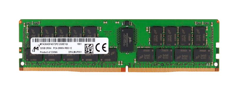 MTA36ASF4G72PZ-2G6 Micron 32GB PC4-21300 DDR4-2666MHz ECC Registered CL19 288-Pin DIMM 1.2V Dual Rank Memory Module