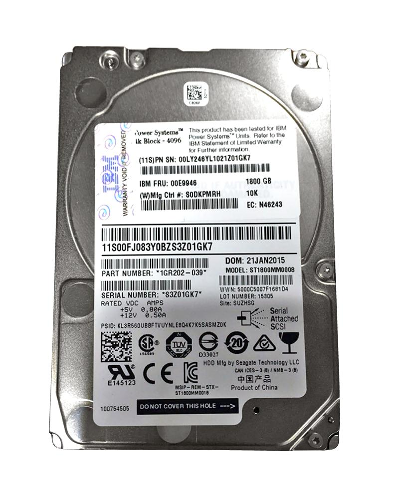 00FJ083 IBM 1.8TB 10000RPM SAS 12Gbps (4K) 2.5-inch Internal Hard Drive for AIX and Linux Based Server Systems