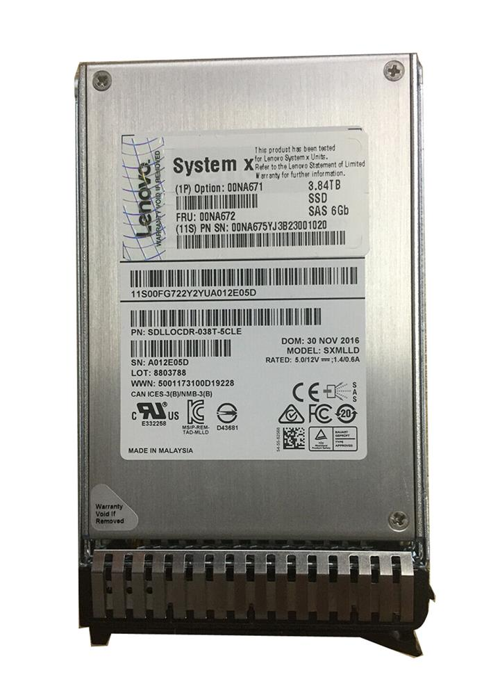 00NA671 Lenovo 3.84TB MLC SAS 6Gbps Hot Swap Enterprise 2.5-inch Internal Solid State Drive (SSD) for System x3550 M5