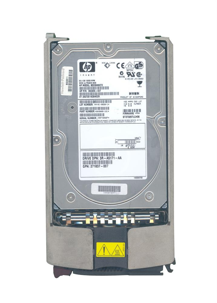 271837-007 HP 36.4GB 10000RPM Ultra-320 SCSI 80-Pin LVD Hot Swap 3.5-inch Internal Hard Drive