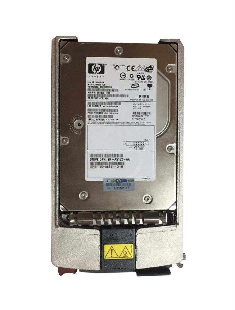 271837-016 HP 36.4GB 15000RPM Ultra-320 SCSI 80-Pin LVD Hot Swap 3.5-inch Internal Hard Drive