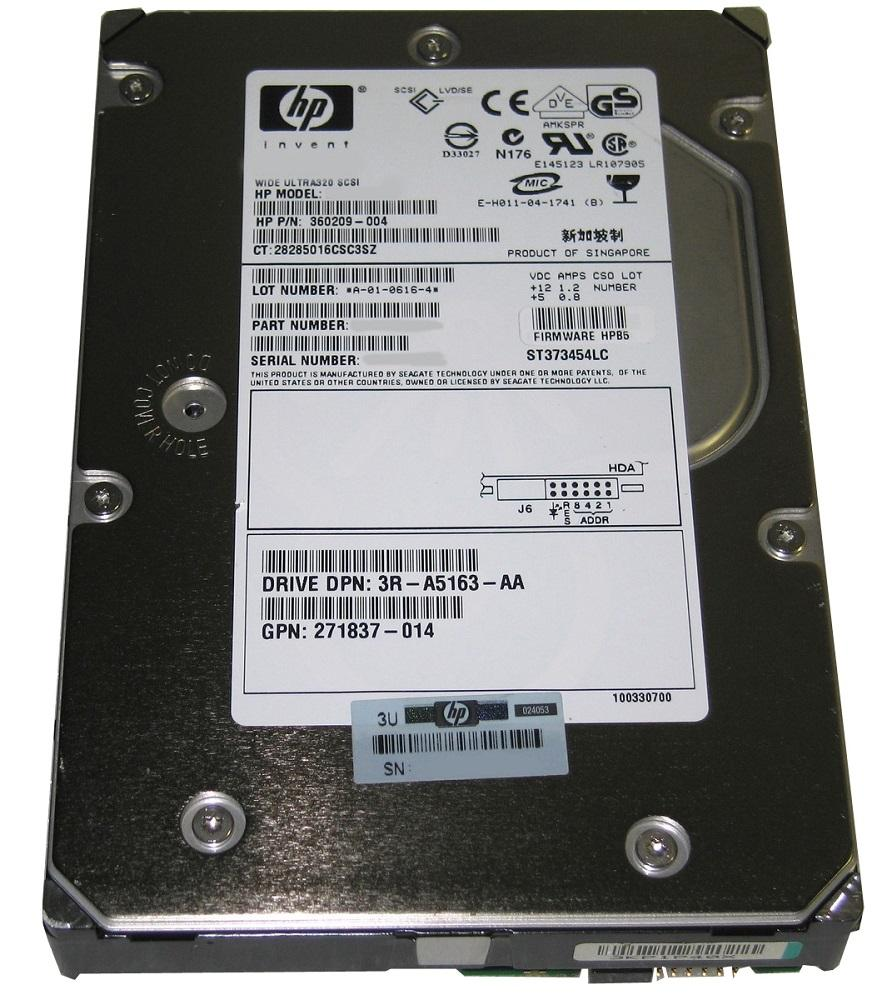 360209-004 HP 72.8GB 15000RPM Ultra-320 SCSI 80-Pin LVD Hot Swap 3.5-inch Internal Hard Drive