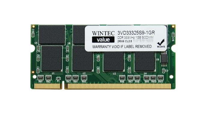 Wintec 1GB PC2700 DDR-333MHz non-ECC Unbuffered CL2.5 200-Pin SoDimm Memory Module Mfr P/N 3VD33325S9-1GR