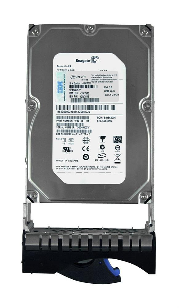 43W7575 IBM 750GB 7200RPM SATA 3Gbps 16MB Cache 3.5-inch Internal Hard Drive with Tray