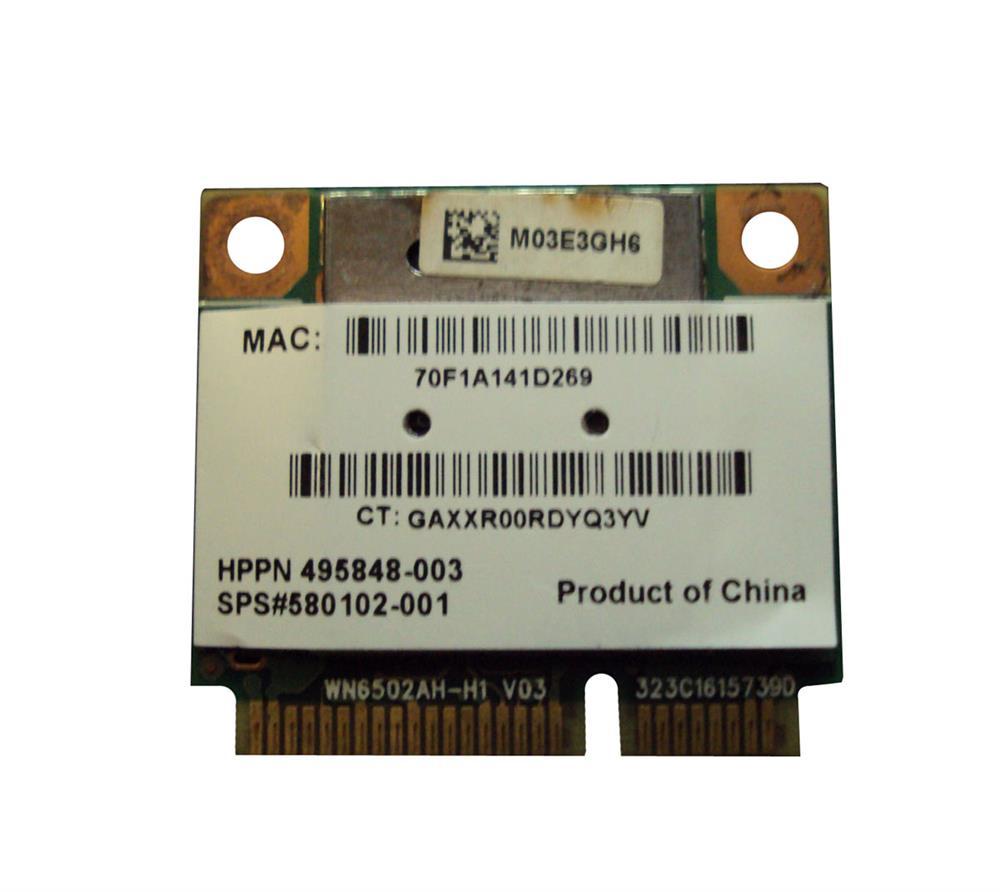 HP Mini PCI-Express 802.11a/b/g/n WiFi Wireless Lan (WLAN) Network Adapter for Pavilion DV7 Series Notebooks Mfr P/N 495848-003