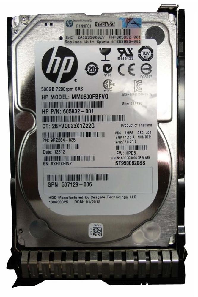 605832-001 HP 500GB 7200RPM SAS 6Gbps Dual Port Hot Swap 2.5-inch Internal Hard Drive