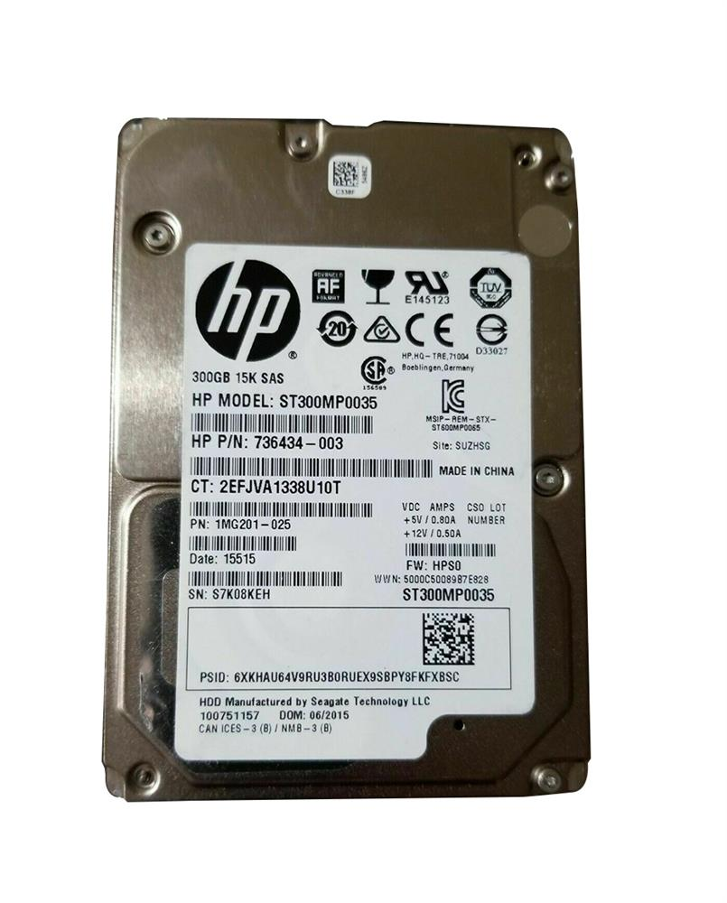 736434-003 HP 300GB 15000RPM SAS 6Gbps 2.5-inch Internal Hard Drive