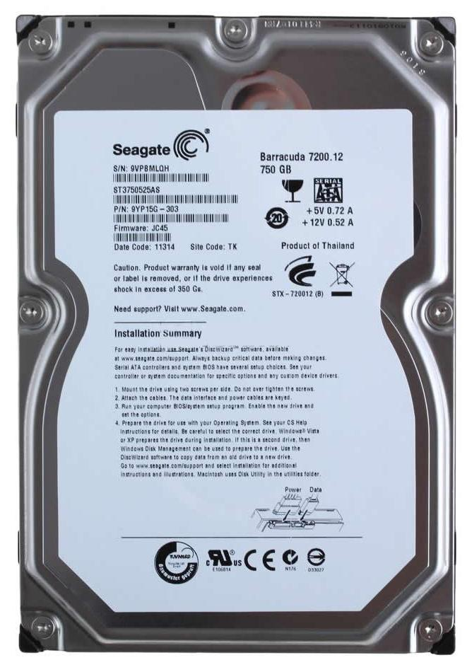 9YP15G-303 Seagate Barracuda 7200.12 750GB 7200RPM SATA 6Gbps 32MB Cache 3.5-inch Internal Hard Drive