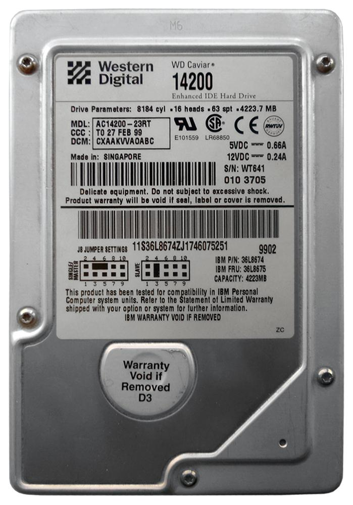Western Digital Caviar 4.2GB 5400RPM ATA-66 512KB Cache 3.5-inch Internal Hard Drive Mfr P/N AC14200