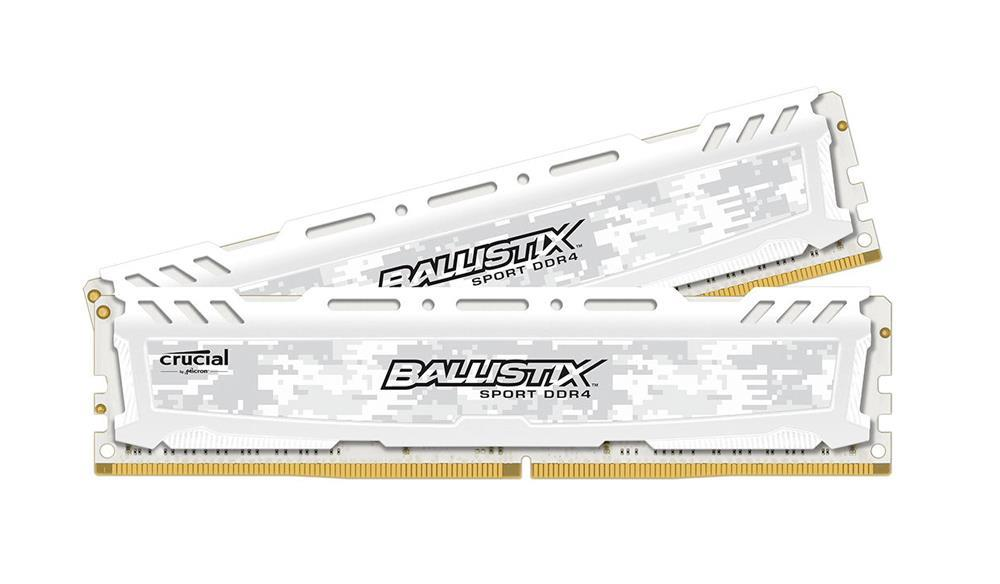 BLS2K16G4D240FSC Crucial Ballistix Sport LT White 32GB Kit (2 X 16GB) PC4-19200 DDR4-2400MHz non-ECC Unbuffered CL16 (16-16-16) 288-Pin DIMM 1.2V Memory