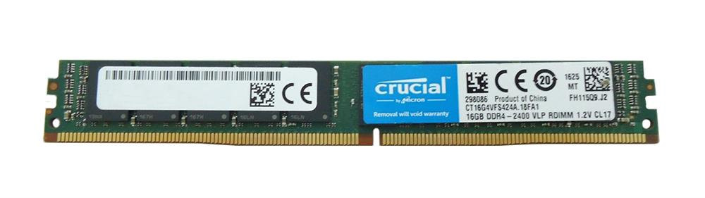 CT16G4VFS424A Crucial 16GB PC4-19200 DDR4-2400MHz Registered ECC CL17 288-Pin DIMM 1.2V Single Rank Memory Module