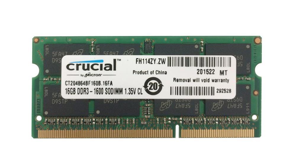CT204864BF160B.16FA Crucial 16GB PC3-12800 DDR3-1600MHz non-ECC Unbuffered CL11 204-Pin SoDimm 1.35V Low Voltage Dual Rank Memory Module