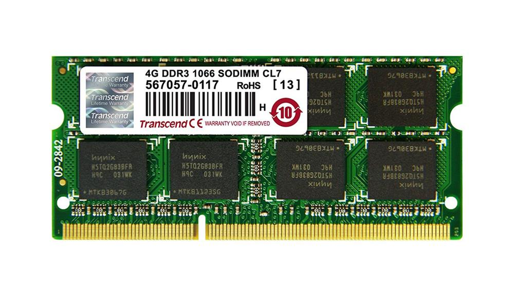 JM1066KSN-4G Transcend JetRam 4GB PC3-8500 DDR3-1066MHz non-ECC Unbuffered CL7 204-Pin SoDimm Dual Rank Memory Module