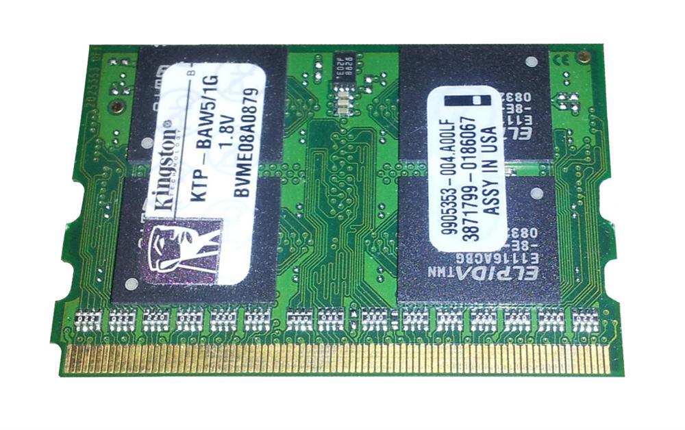 Kingston 1GB PC2-4200 DDR2-533MHz non-ECC Unbuffered CL3 172-Pin MicroDIMM Memory Module Mfr P/N KTP-BAW5/1G
