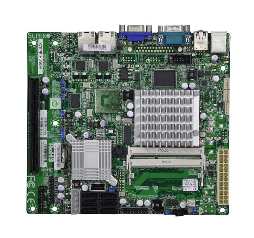 MBD-X7SPE-H-D525-B SuperMicro X7SPE-H-D525 Intel ICH9R Chipset Intel Atom D525 Processors Support DDR3 2x DIMM 6x SATA2 3.0Gb/s Flex-ATX Motherboard (Refurbished)