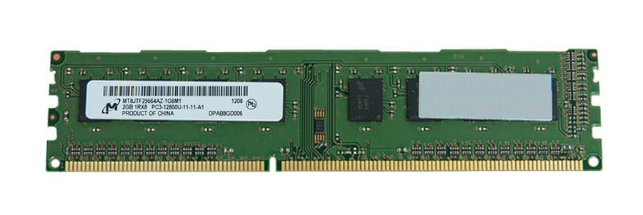 Micron 2GB PC3-12800 DDR3-1600MHz non-ECC Unbuffered CL11 240-Pin DIMM Single Rank Memory Module Mfr P/N MT8JTF25664AZ-1G6M1