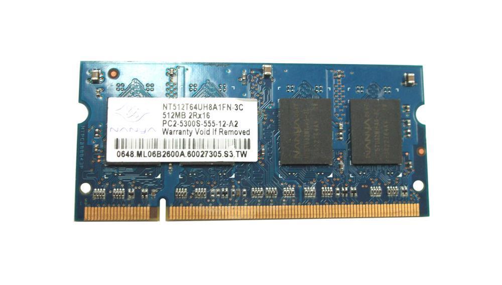 Nanya 512MB PC2-5300 DDR2-667MHz non-ECC Unbuffered CL5 200-Pin SoDimm Memory Module Mfr P/N NT512T64UH8A1FN-3C