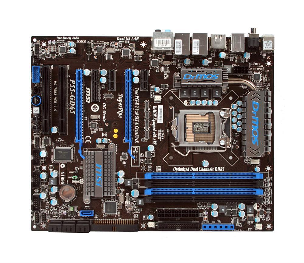 P55-GD65 MSI LGA1156/ Intel P55/ DDR3-2133(OC)/ A&2GbE/ ATX Motherboard (Refurbished)