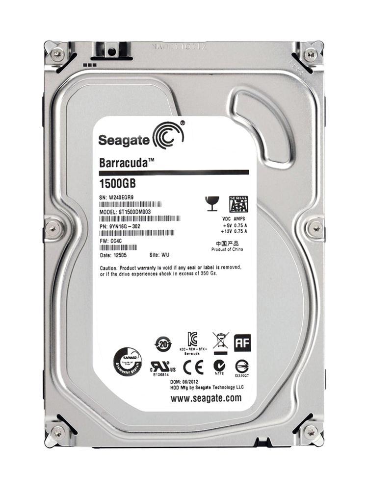 Seagate Barracuda 7200.14 1.5TB 7200RPM SATA 6Gbps 64MB Cache 3.5-inch Internal Hard Drive Mfr P/N ST1500DM003