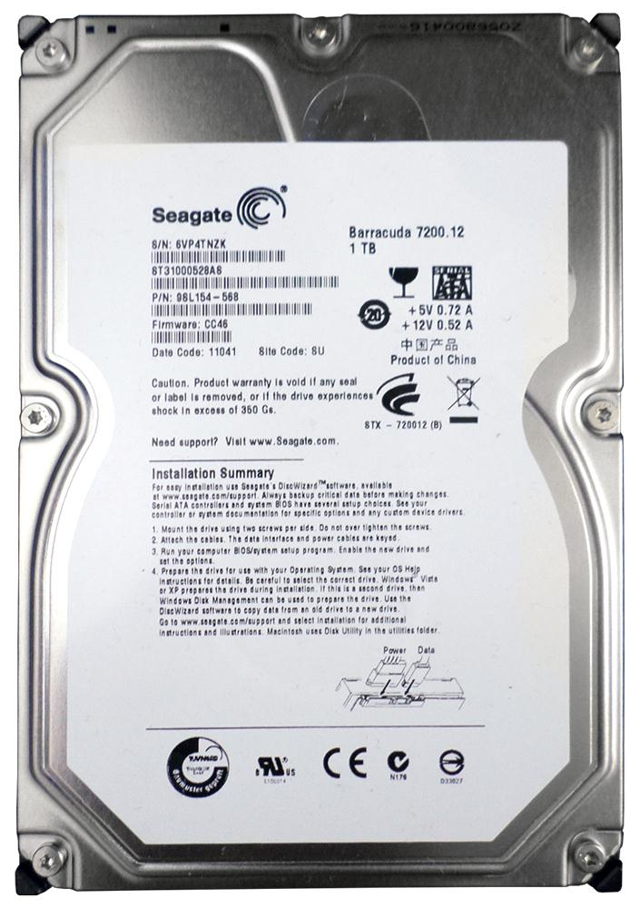 Seagate Barracuda 7200.12 1TB 7200RPM SATA 3Gbps 32MB Cache 3.5-inch Internal Hard Drive Mfr P/N ST31000528AS