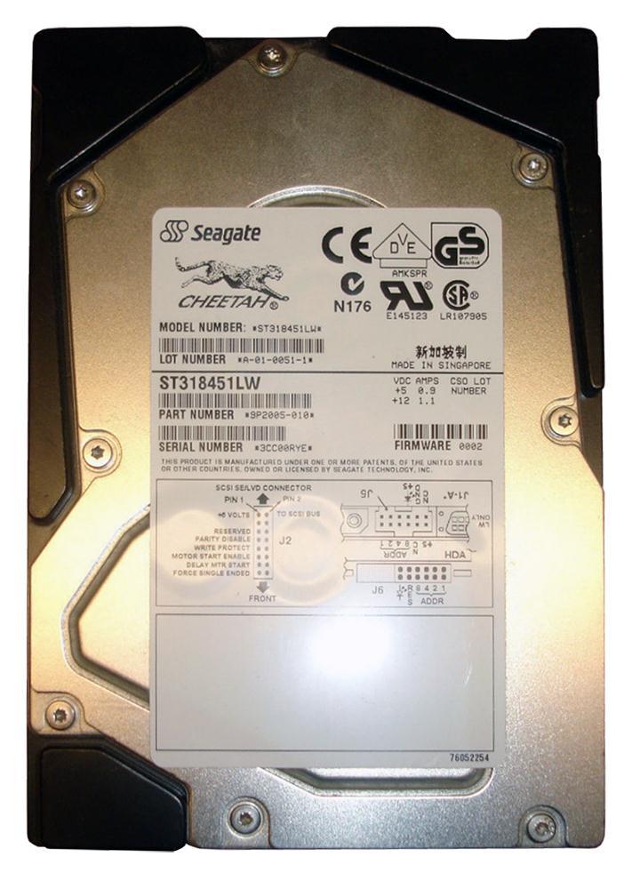 Seagate Cheetah X15 18.4GB 15000RPM Ultra-160 SCSI 68-Pin 4MB Cache 3.5-inch Internal Hard Drive Mfr P/N ST318451LW
