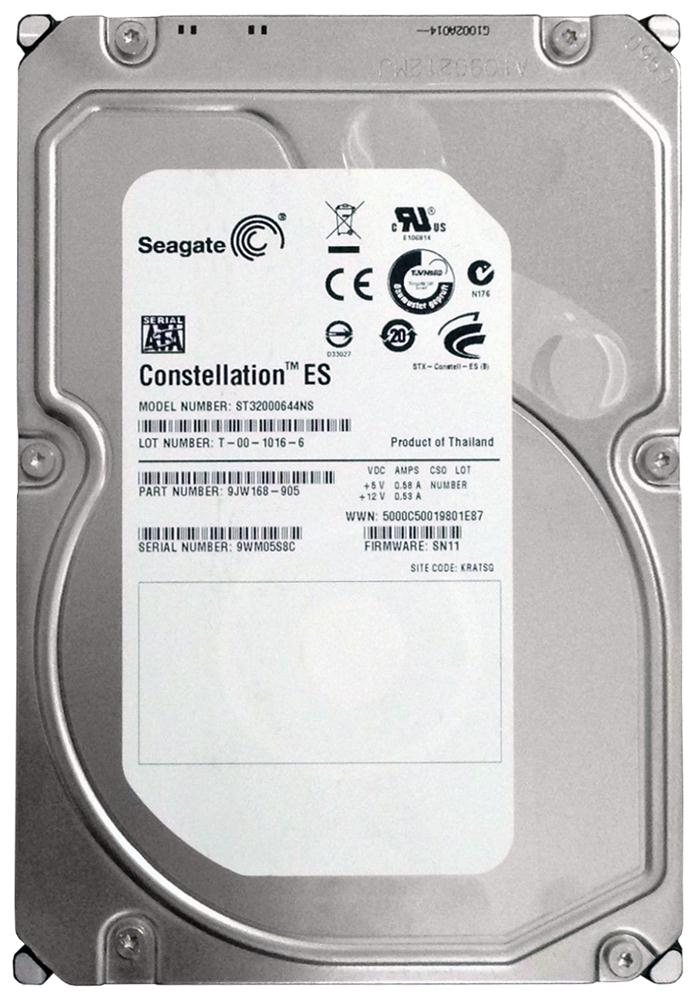 Seagate Constellation ES 2TB 7200RPM SATA 3Gbps 64MB Cache 3.5-inch Internal Hard Drive Mfr P/N ST32000644NS