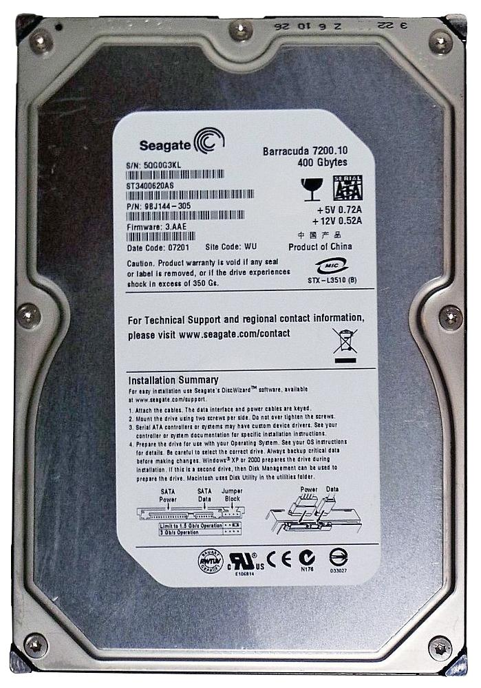 ST3400620AS Seagate Barracuda 7200.10 400GB 7200RPM SATA 3Gbps 16MB Cache 3.5-inch Internal Hard Drive