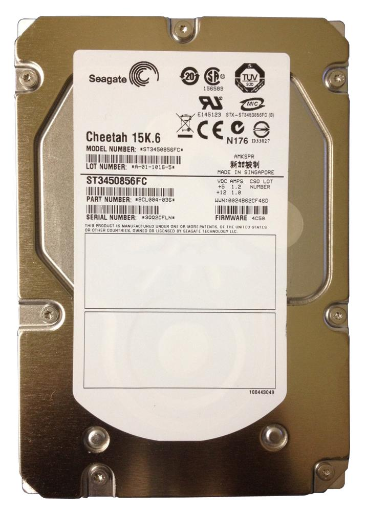 ST3450856FC Seagate Cheetah 15K.6 450GB 15000RPM Fibre Channel 4Gbps 16MB Cache 3.5-inch Internal Hard Drive