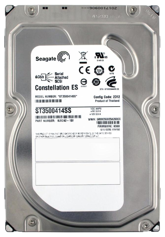 Seagate Constellation ES 7200.1 500GB 7200RPM SAS 6Gbps 16MB Cache 3.5-inch Internal Hard Drive Mfr P/N ST3500414SS