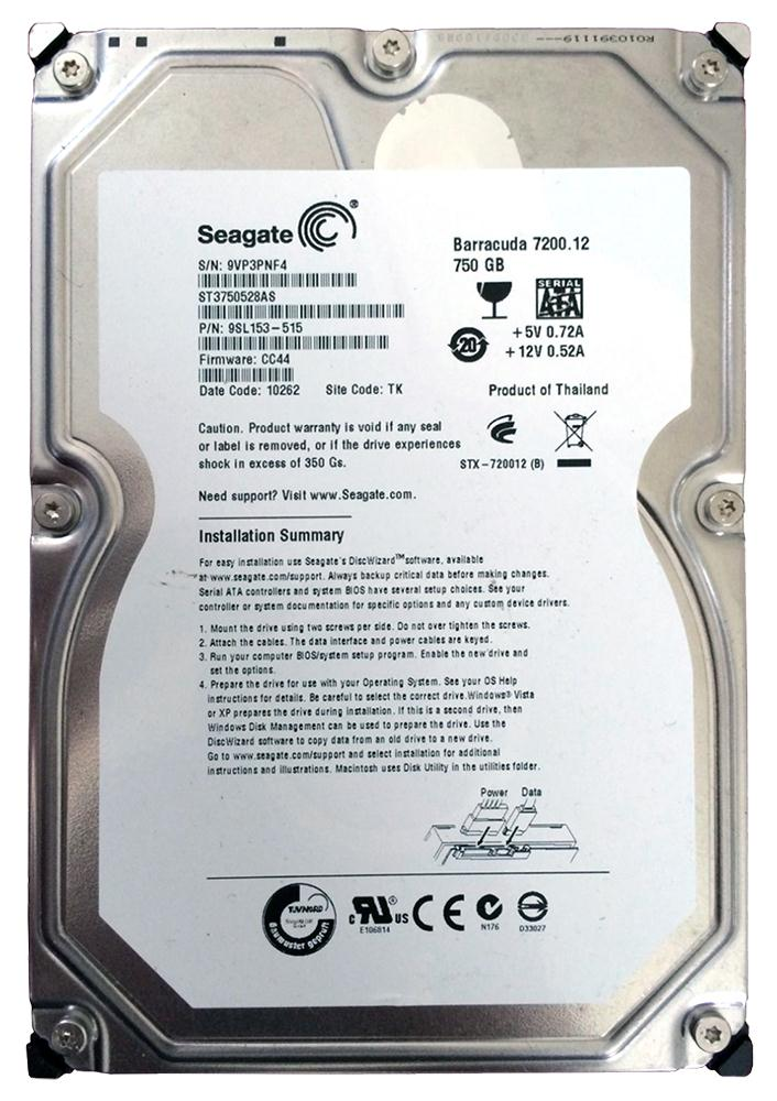 Seagate Barracuda 7200.12 750GB 7200RPM SATA 3Gbps 32MB Cache 3.5-inch Internal Hard Drive Mfr P/N ST3750528AS