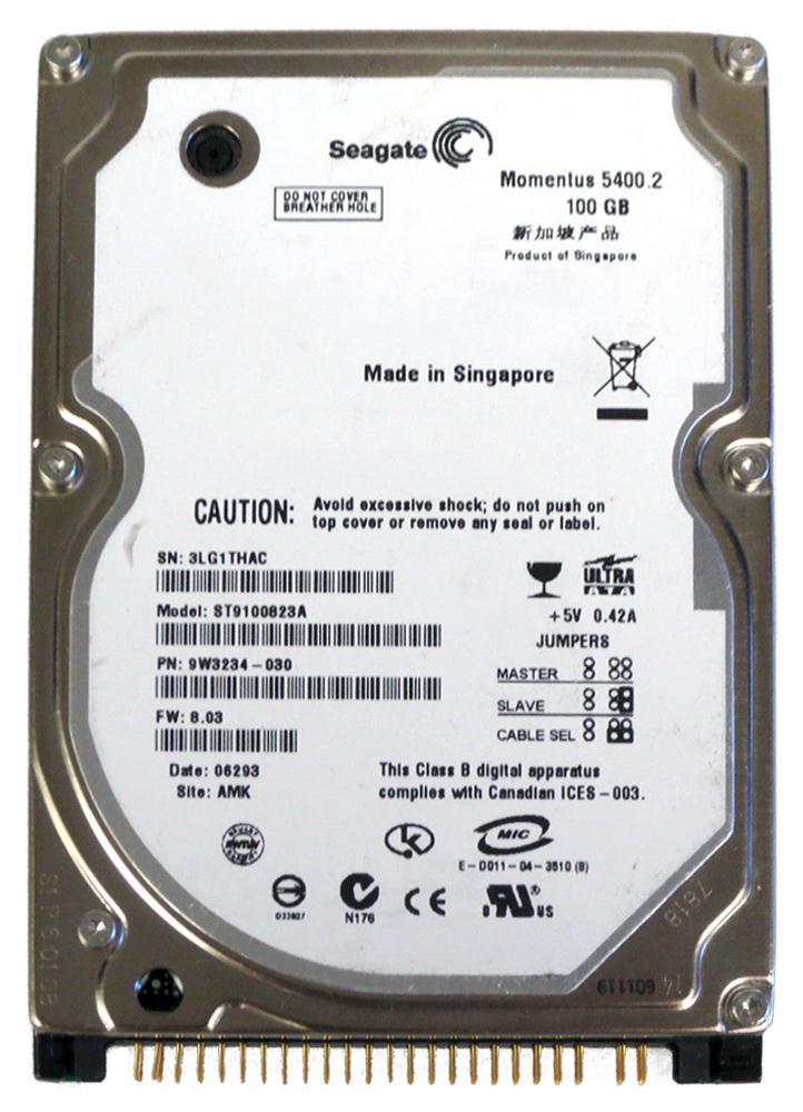 Seagate Momentus 5400.2 100GB 5400RPM ATA-100 8MB Cache 2.5-inch Internal Hard Drive Mfr P/N ST9100823A