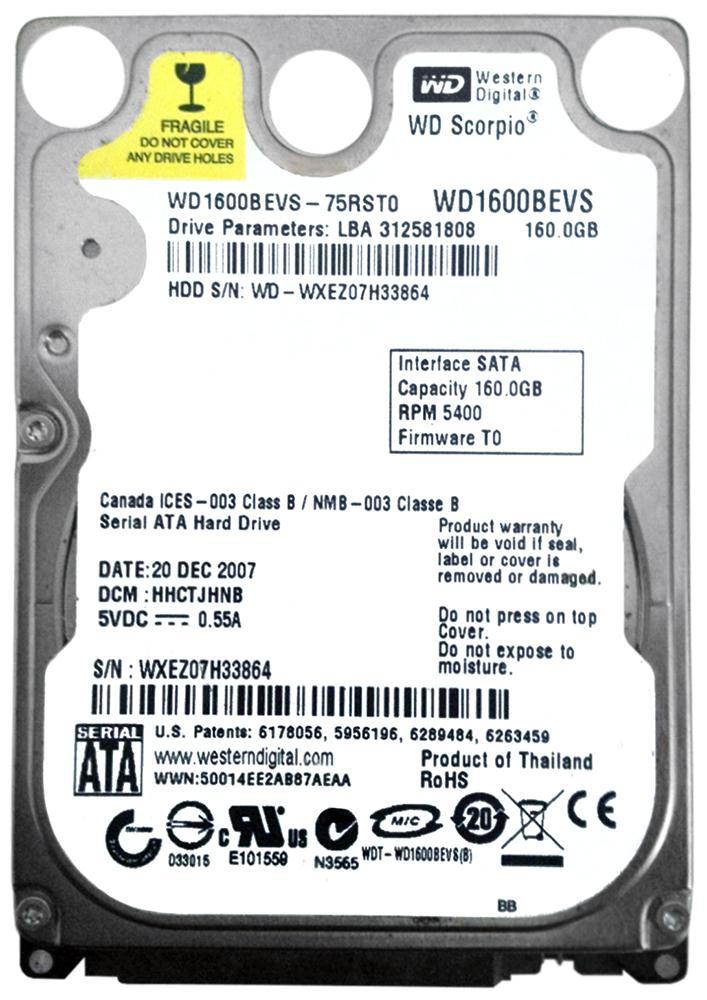 Western Digital Disco Duro 160 GB SATA 2.5 Scorpio Azul WD1600BEVS port/átil