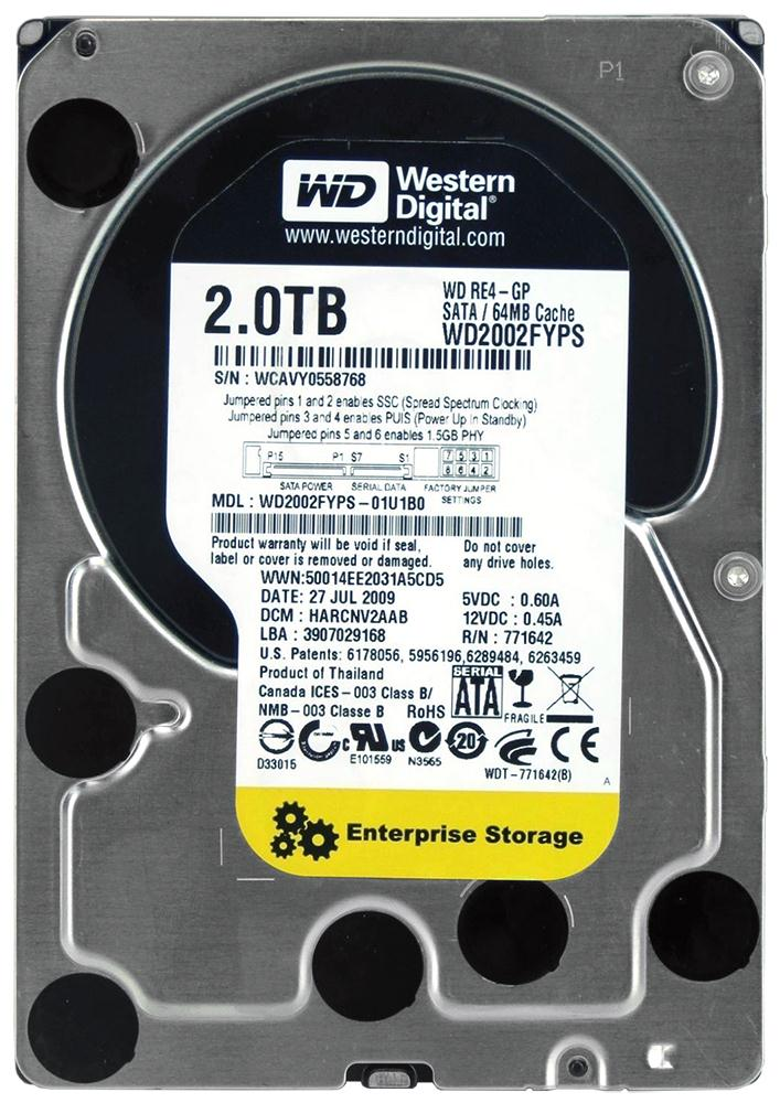 WD2002FYPS Western Digital Enterprise RE4-GP 2TB 5400RPM SATA 3Gbps 64MB Cache 3.5-inch Internal Hard Drive