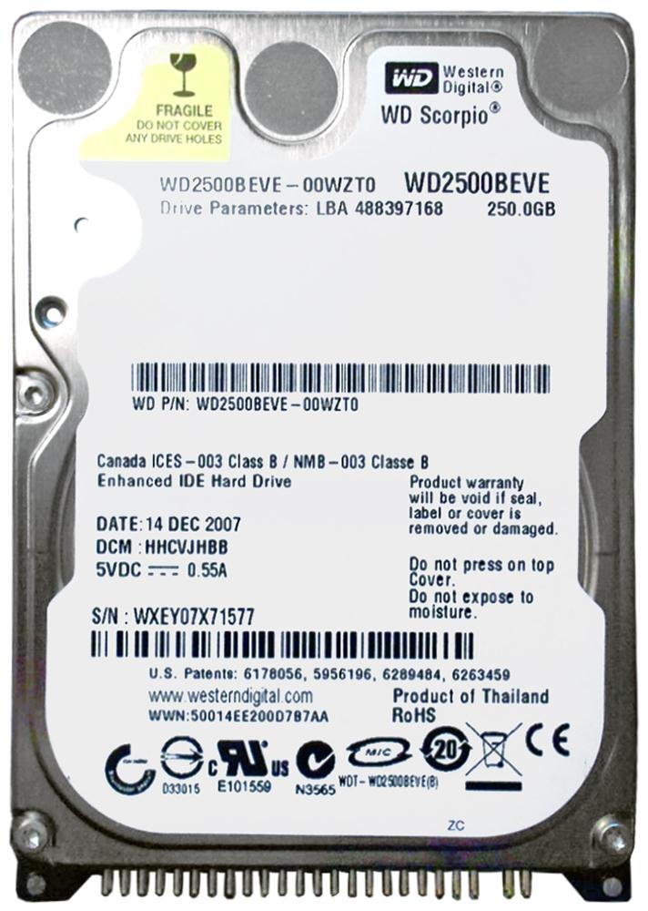 Western Digital Scorpio Blue 250GB 5400RPM ATA-100 8MB Cache 2.5-inch Internal Hard Drive Mfr P/N WD2500BEVE