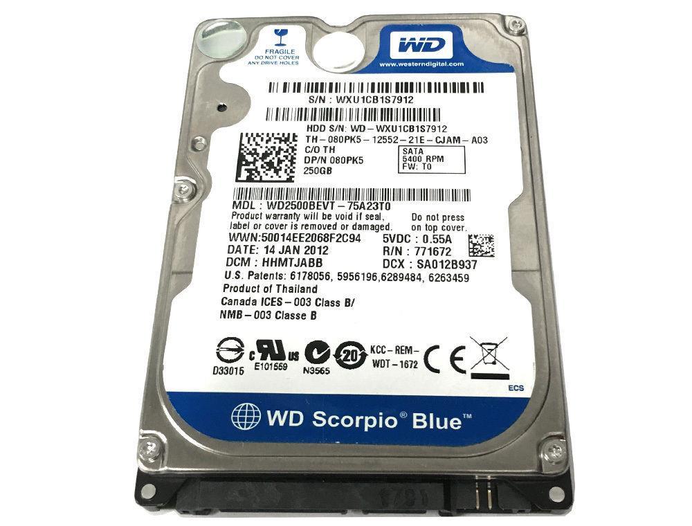 Western Digital Scorpio Blue 250GB 5400RPM SATA 3Gbps 8MB Cache 2.5-inch Internal Hard Drive Mfr P/N WD2500BEVT-22A23T0