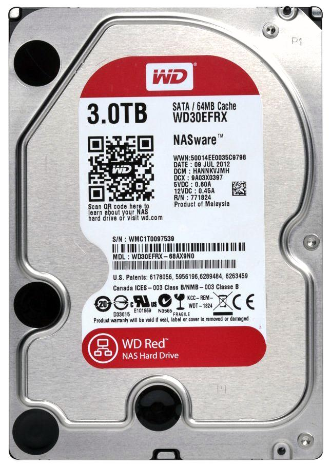 WD30EFRX Western Digital Red 3TB 5400RPM SATA 6Gbps 64MB Cache 3.5-inch Internal Hard Drive