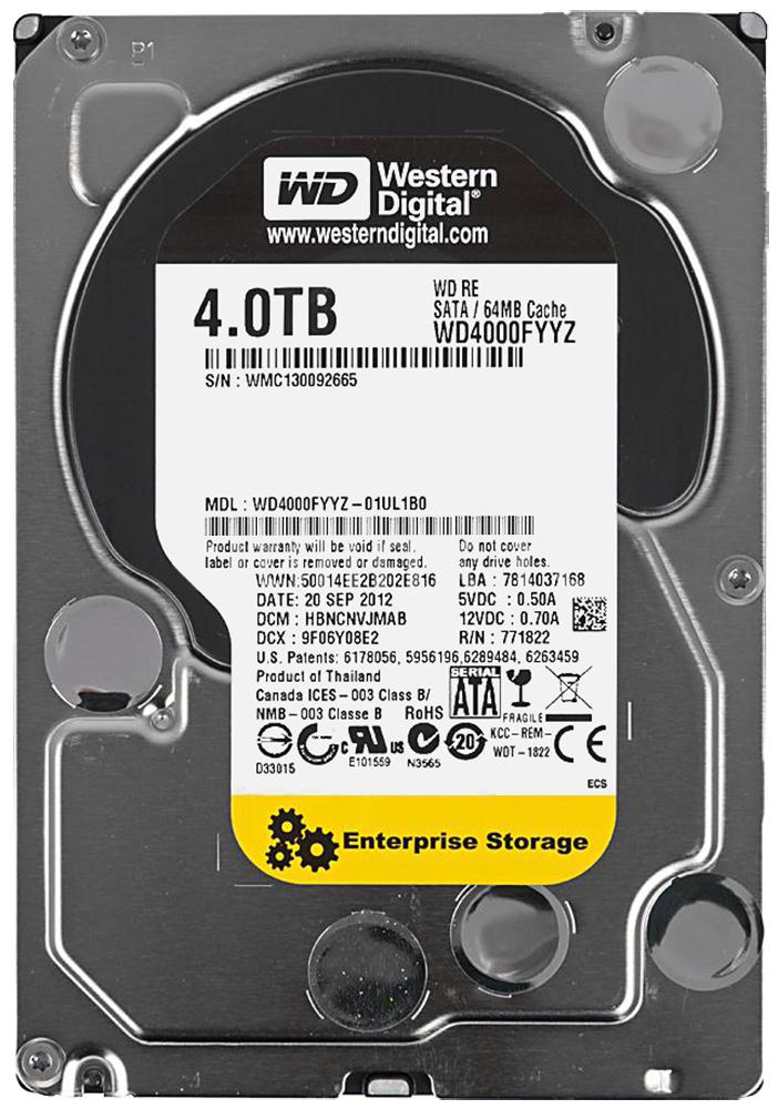 WD4000FYYZ Western Digital RE 4TB 7200RPM SATA 6Gbps 64MB Cache 3.5-inch Internal Hard Drive