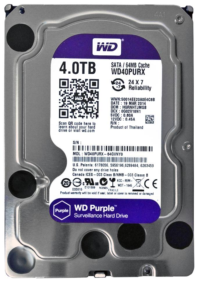 WD40PURX Western Digital Purple 4TB 5400RPM SATA 6Gbps 64MB Cache 3.5-inch Internal Hard Drive
