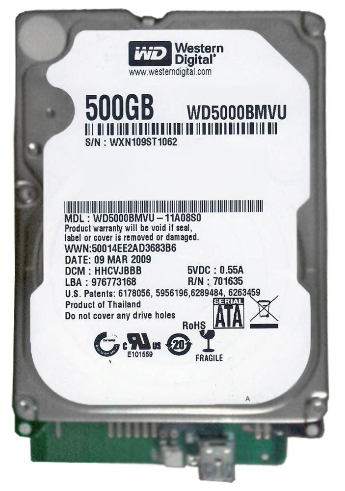 WD5000BMVU-11A08S0 Western Digital 500GB 5400RPM USB 2.0 2.5-inch Internal Hard Drive