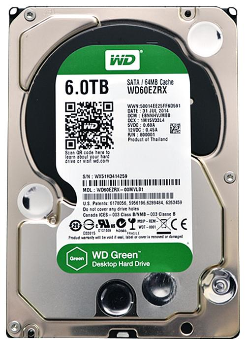 WD60EZRX-00MVLB1 Western Digital Green 6TB 5400RPM SATA 6Gbps 64MB Cache 3.5-inch Internal Hard Drive